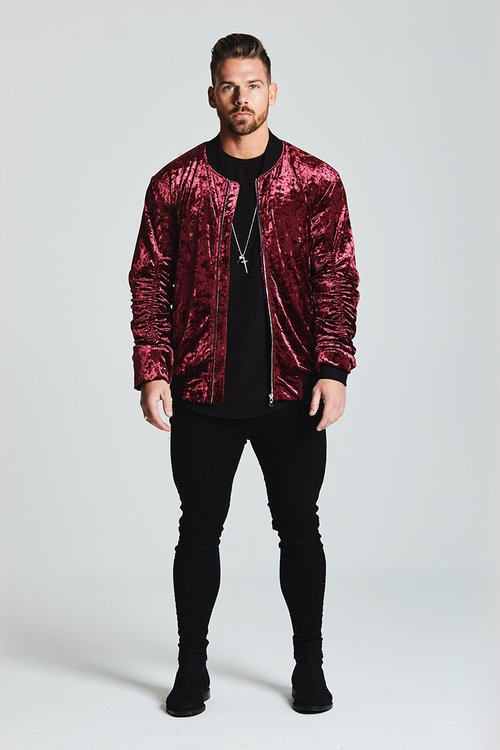VELOUR BOMBER JACKET - WINE