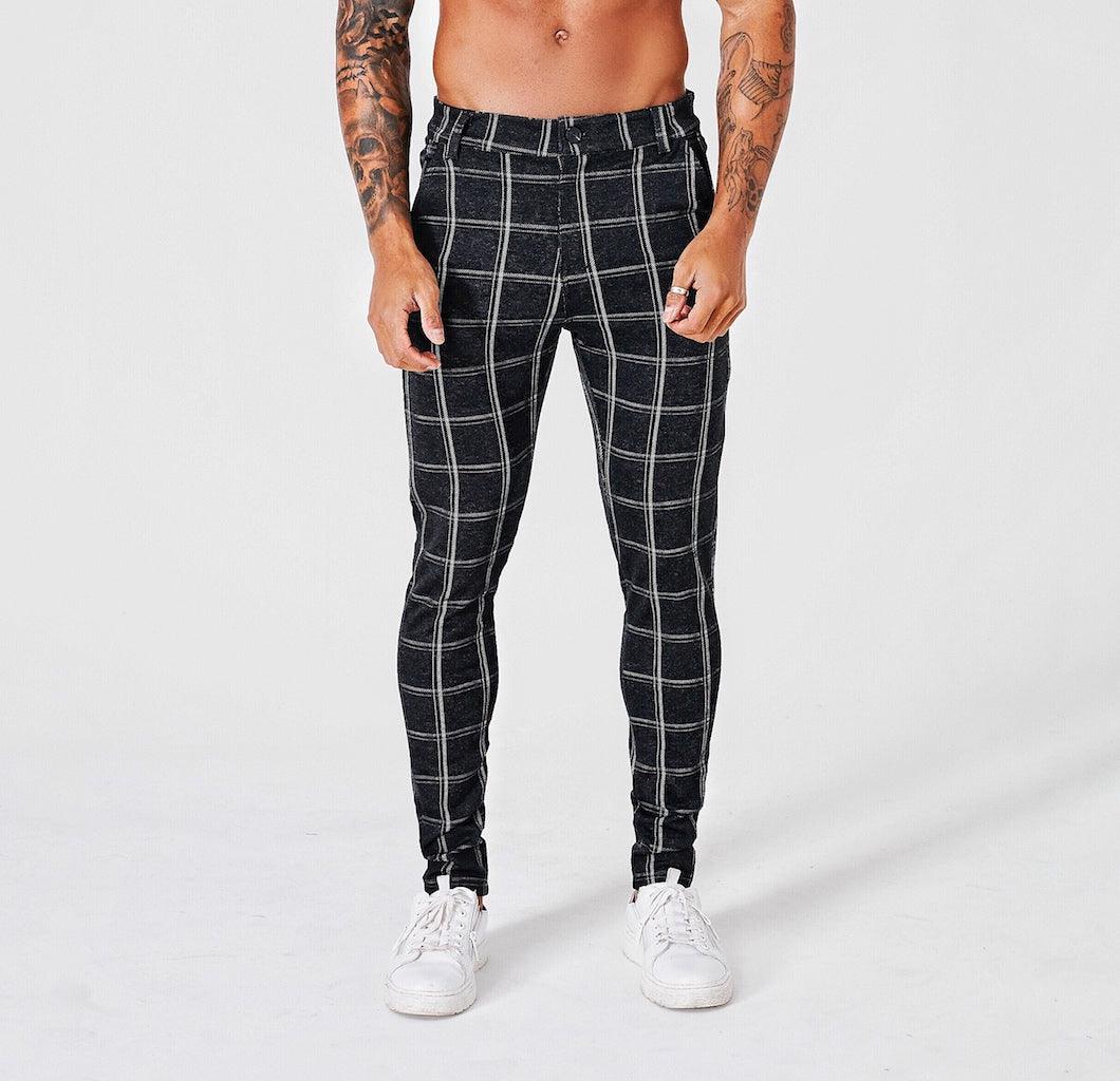 SLIM CHECK TROUSERS - BLACK - V2