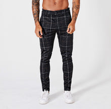 SLIM CHECK TROUSERS - BLACK - V1
