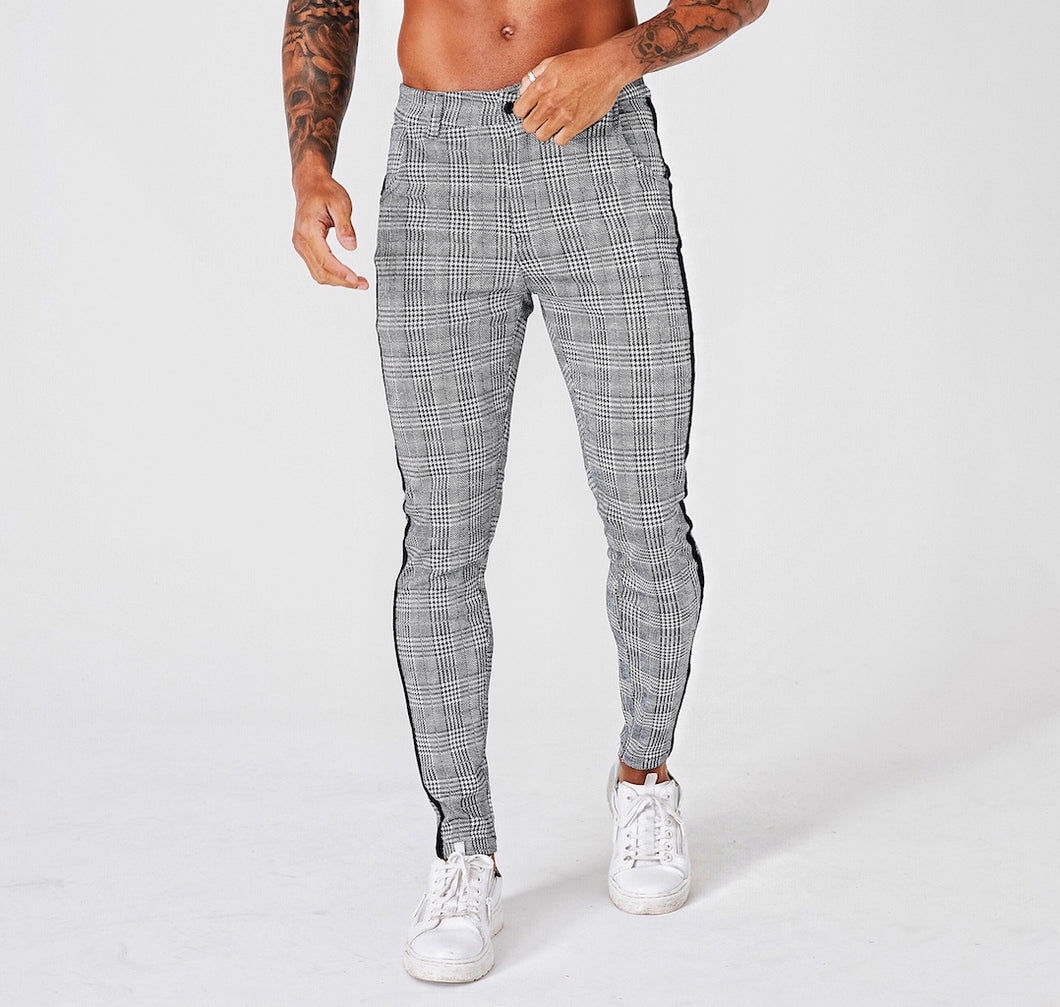 SLIM CHECK TROUSERS - BLACK STRIPE - GREY - V1
