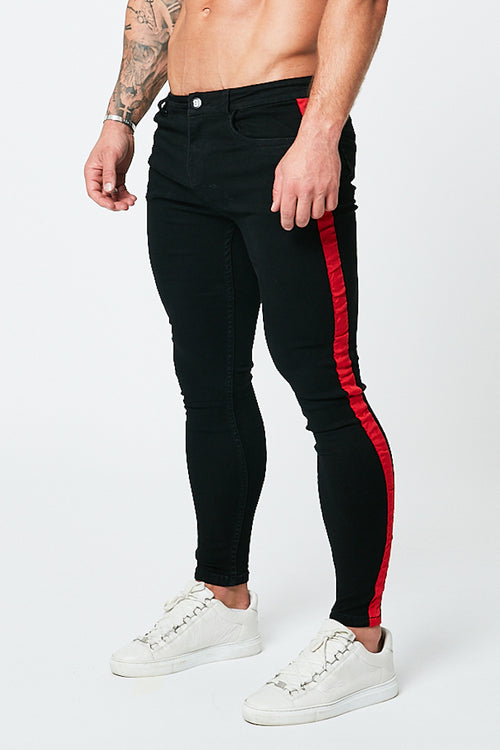 SKINNY NON-RIPPED JEANS - BLACK/RED STRIPE