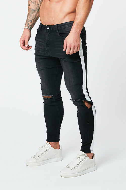 SKINNY RIPPED JEANS - GREY/WHITE STRIPE