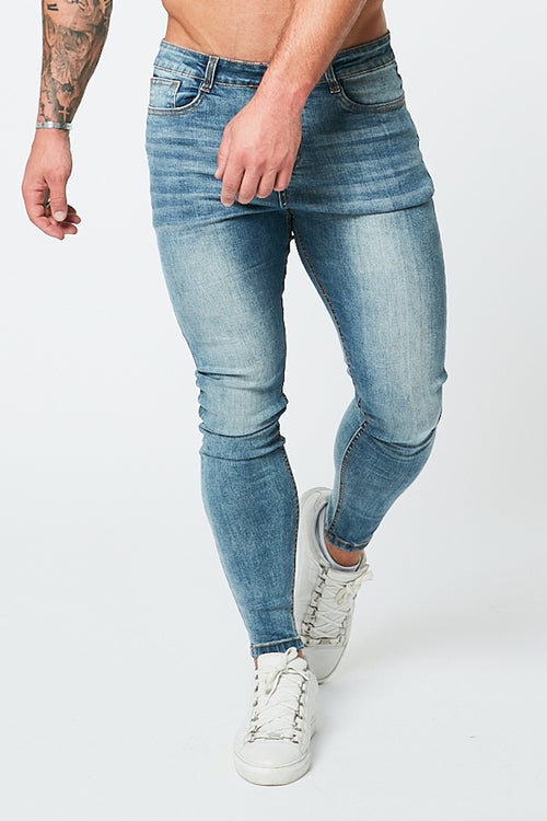 SKINNY NON-RIPPED JEANS - PALE BLUE