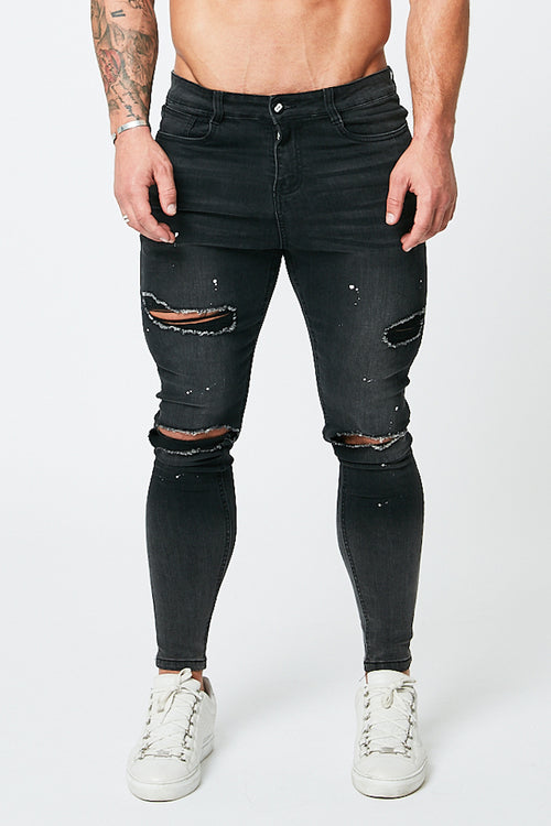 SKINNY RIPPED-REPAIRED JEANS - GREY FADE