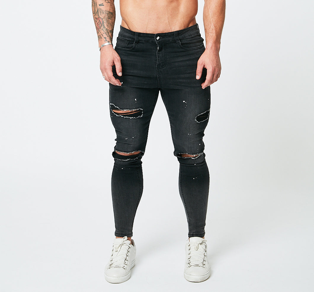 SKINNY FIT RIPPED-REPAIRED JEANS - GRADIENT FADE GREY/PAINT SPRAYED