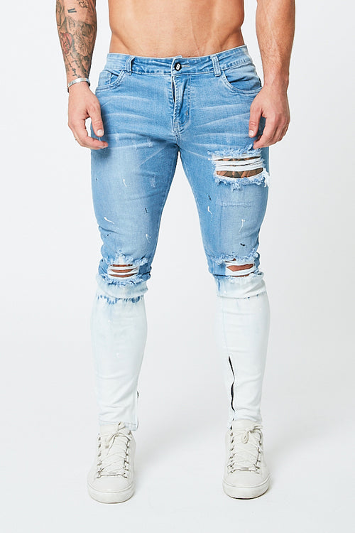 SKINNY RIPPED-REPAIRED JEANS - BLUE/SNOW FADE