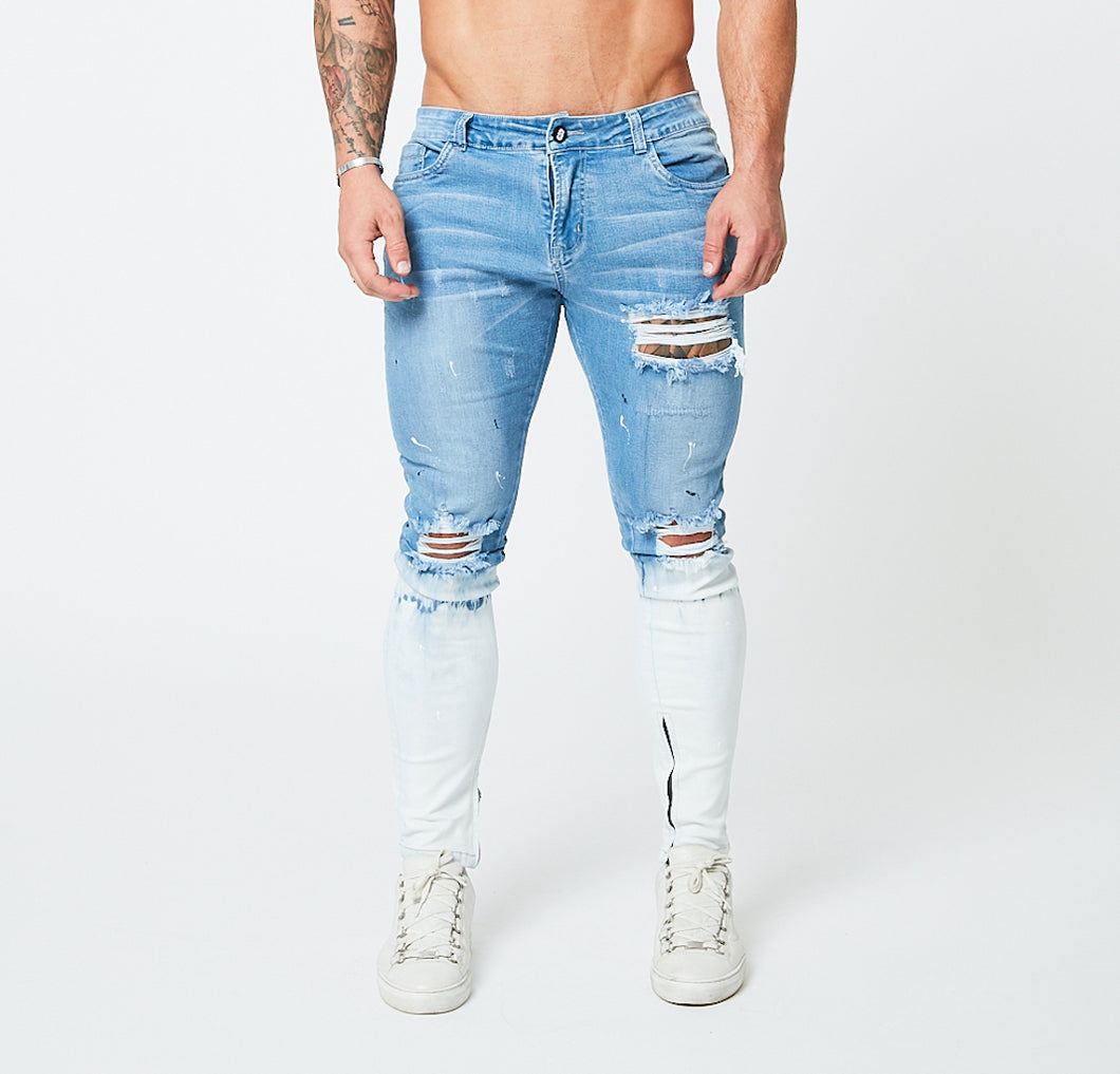 SKINNY FIT RIPPED-REPAIRED JEANS - LIGHT BLUE/SNOW FADE