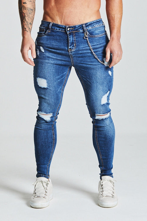 SKINNY RIPPED-REPAIRED JEANS - DARK BLUE