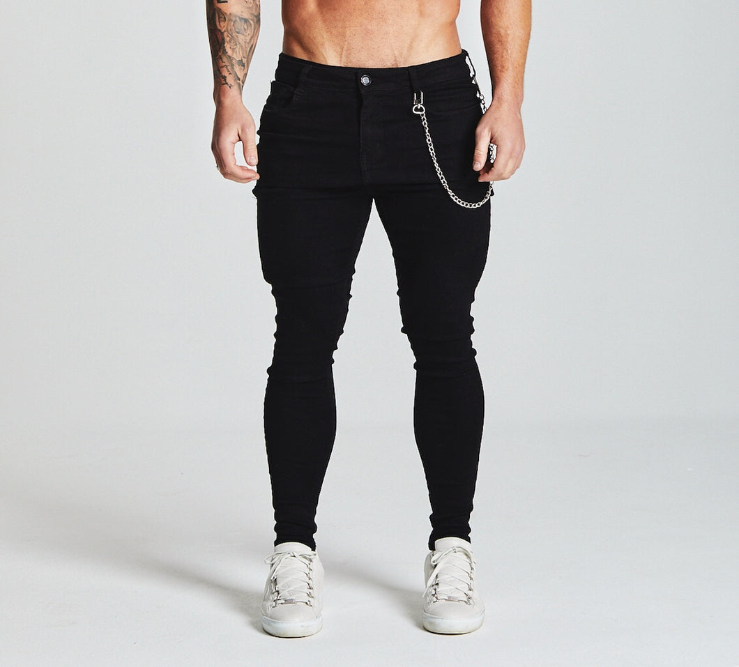 SKINNY FIT NON-RIPPED JEANS - BLACK
