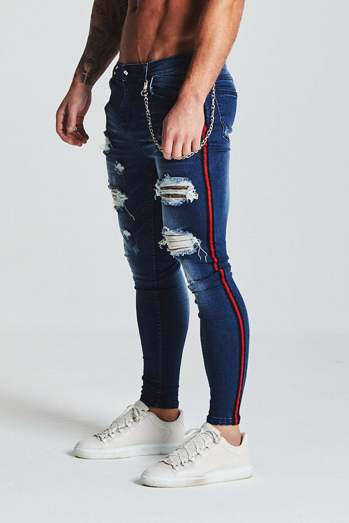 SKINNY RIPPED-REPAIRED STRIPE PANEL JEANS - DARK BLUE