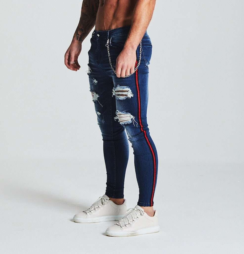 SKINNY FIT RIPPED-REPAIRED STRIPE PANEL JEANS - DARK BLUE
