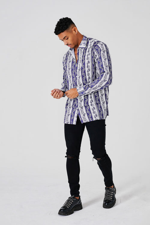 RESORT BOHEMIAN DRESS SHIRT - BLUE/WHITE