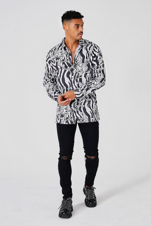 RESORT ZEBRA BAROQUE DRESS SHIRT - WHITE/BLACK