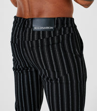 SLIM FIT STRIPE TROUSERS - BLACK