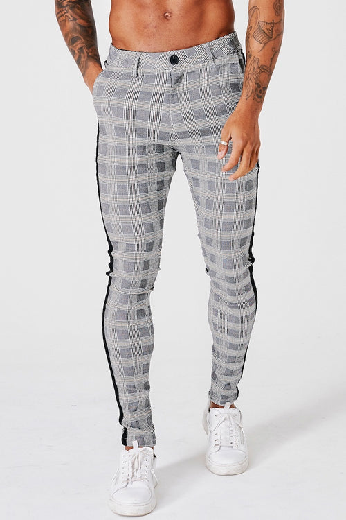 SKINNY CHECK TROUSERS - BLACK STRIPE - GREY - V3