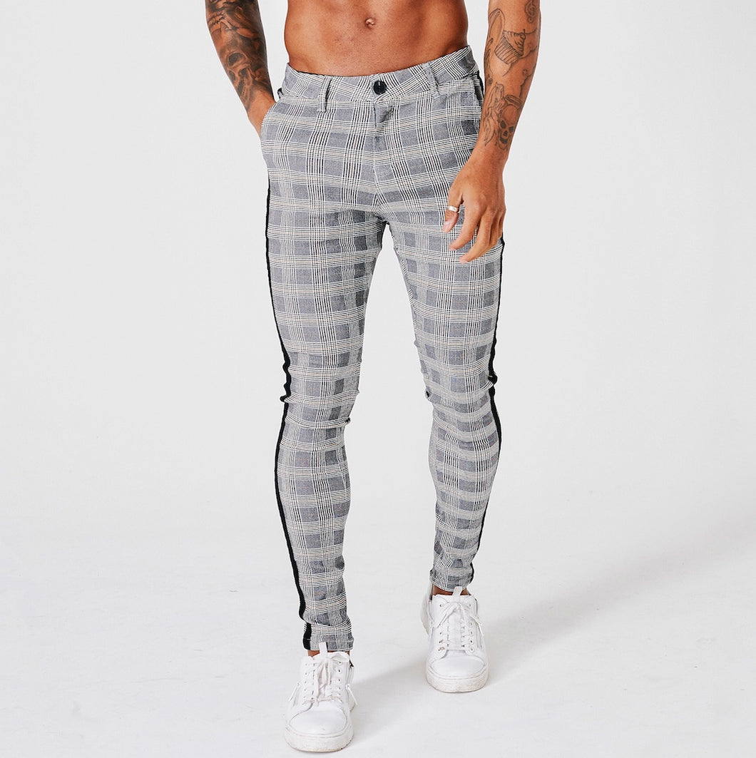 SKINNY FIT CHECK TROUSERS WITH BLACK STRIPE - GREY - V3