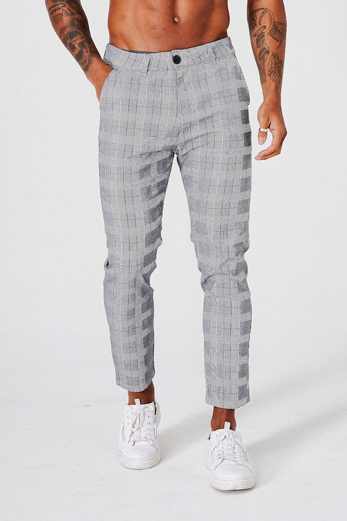 SLIM CHECK TROUSERS CROPPED - GREY - V2