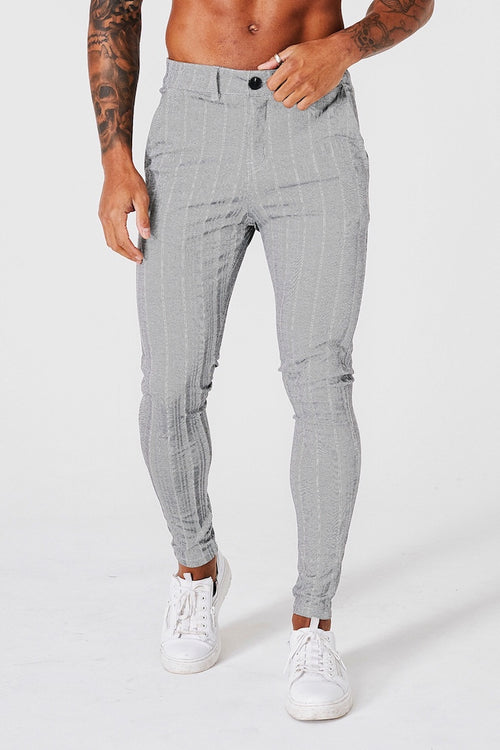 SKINNY STRIPE TROUSERS - GREY