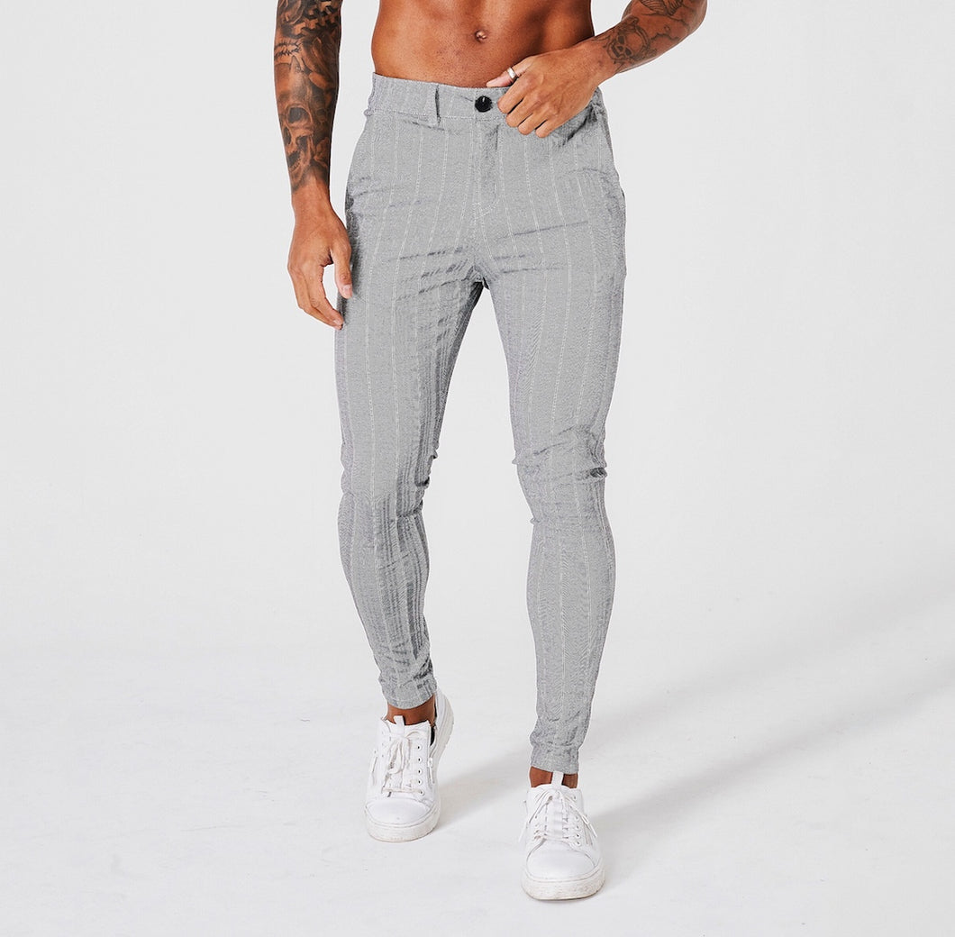 SKINNY FIT STRIPE TROUSERS - GREY