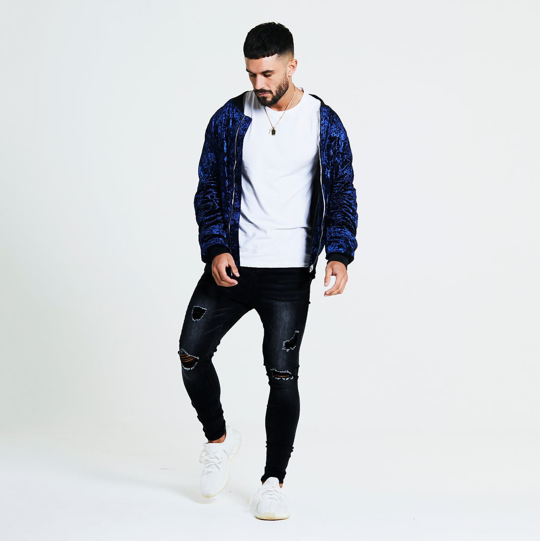 SIGNATURE VELOUR BOMBER JACKET - ROYAL