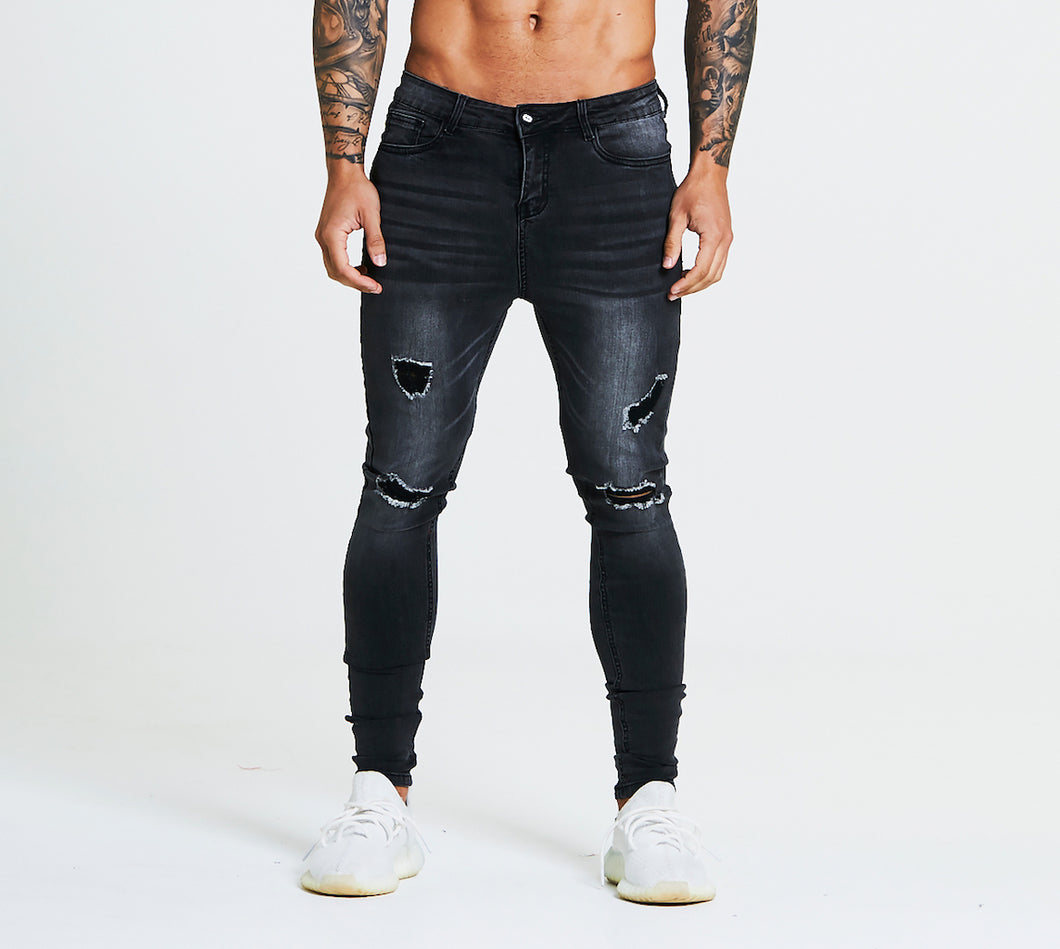 SKINNY FIT RIPPED-REPAIRED JEANS - GREY