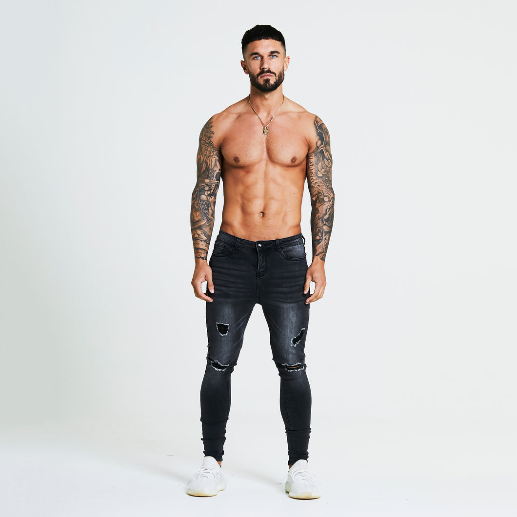 SUPER SKINNY RIPPED-REPAIRED JEANS - GREY