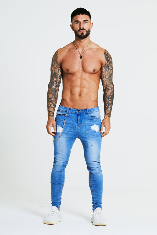 SKINNY FIT RIPPED-REPAIRED JEANS WITH CHAIN - BLUE