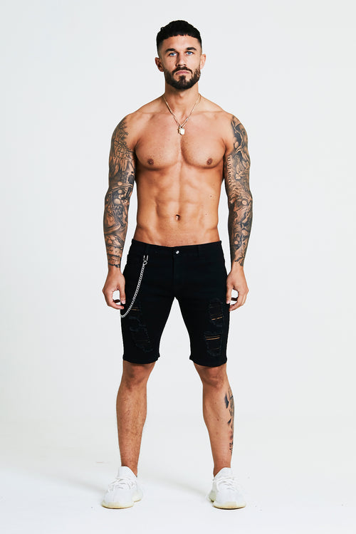 SKINNY RIPPED-REPAIRED SHORTS - BLACK