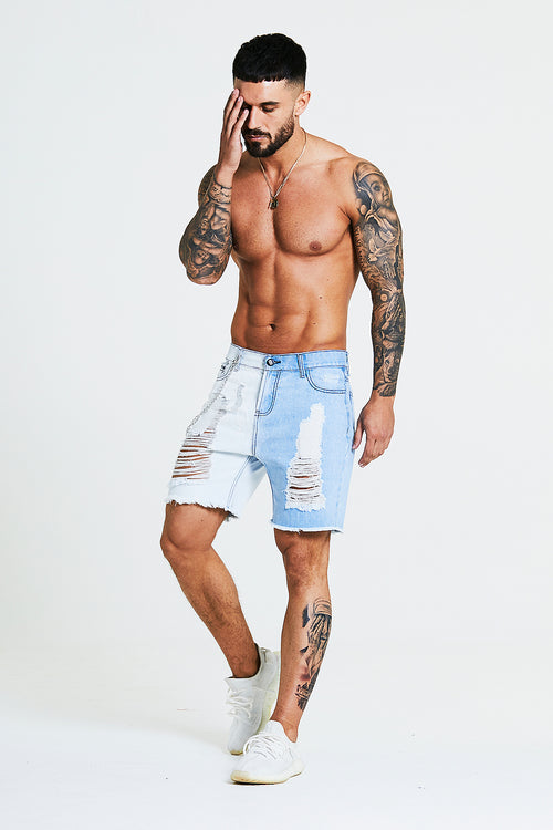 SKINNY RIPPED-REPAIRED SHORTS WITH CHAIN - 2 TONE BLUE