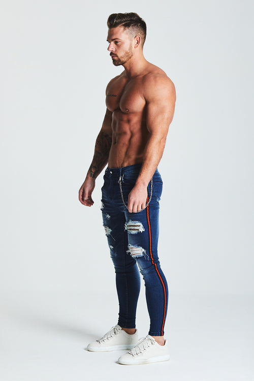 SUPER SKINNY RIPPED-REPAIRED STRIPE PANEL JEANS WITH CHAIN - DARK BLUE