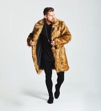FAUX FOX FUR COAT - BROWN