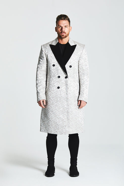 JACQUARD DOUBLE BREASTED OVERCOAT WITH CONTRAST LAPEL - IVORY