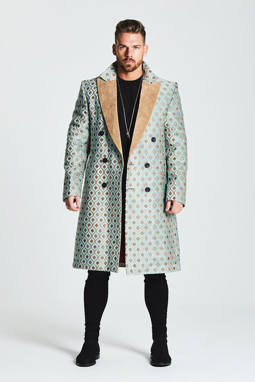 JACQUARD DOUBLE BREASTED OVERCOAT WITH CONTRAST LAPEL - PALE GREEN