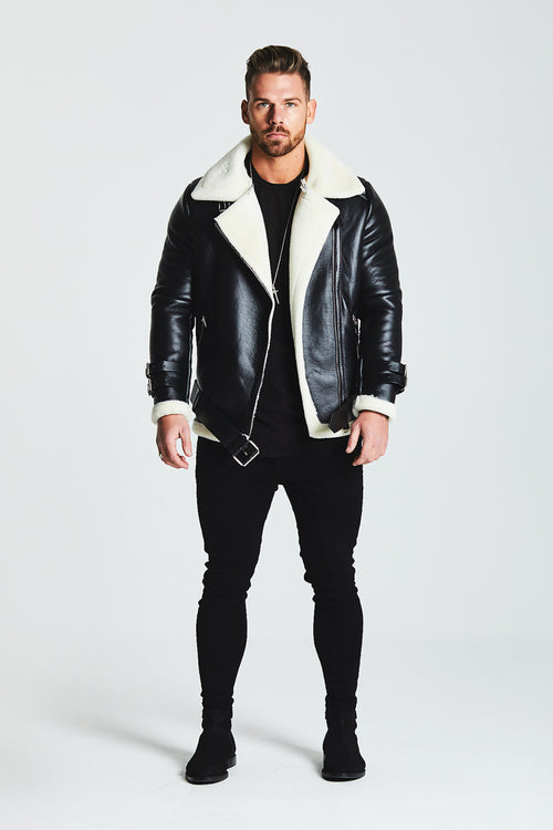 SHEARLING BIKER LEATHER JACKET - WHITE