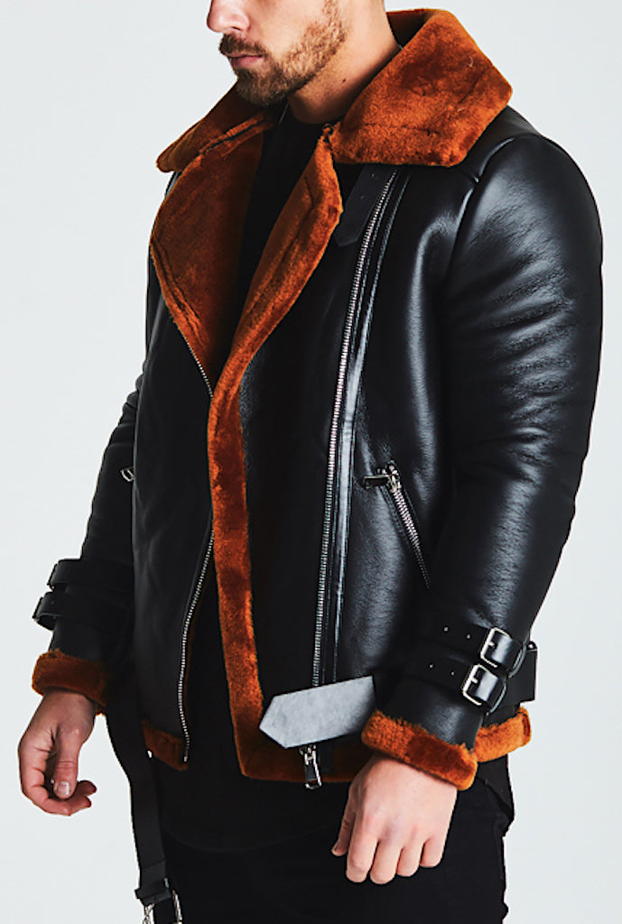 SHEARLING BIKER LEATHER JACKET - BROWN