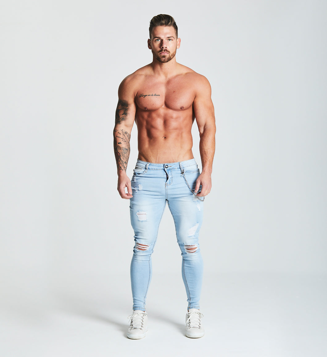 0bdf3af2f5d SUPER SKINNY RIPPED-REPAIRED JEANS WITH CHAIN - LIGHT BLUE – Beauxnarrow