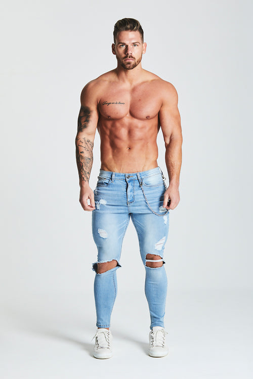 SUPER SKINNY ULTRA-RIPPED JEANS WITH CHAIN - LIGHT BLUE