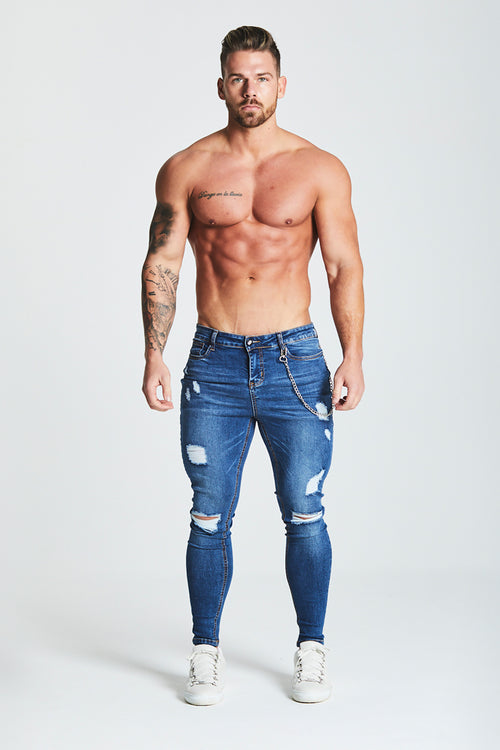 SKINNY FIT RIPPED-REPAIRED JEANS WITH CHAIN - DARK BLUE
