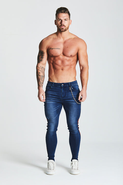 SKINNY FIT STRIPE PANEL JEANS WITH CHAIN - DARK BLUE