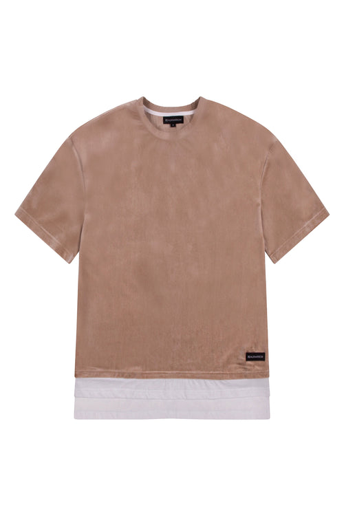 OVERSIZED VELVET BOX T-SHIRT - SAND