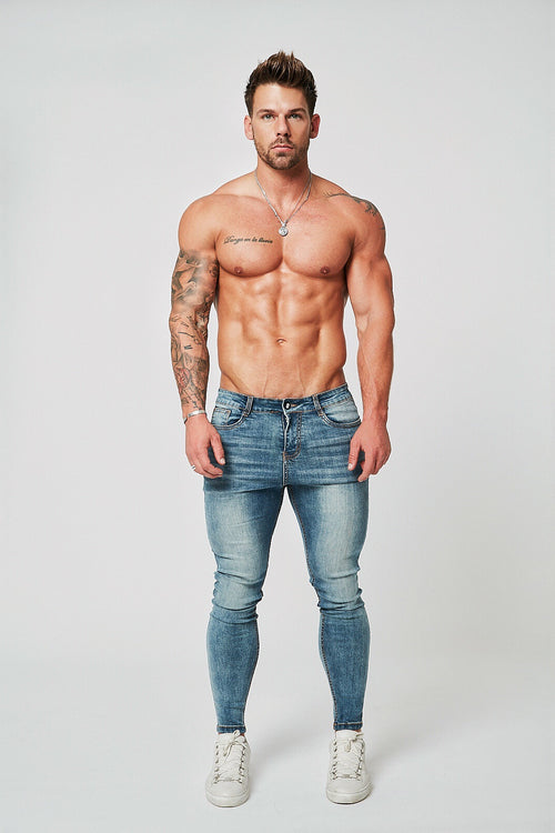 SKINNY FIT NON-RIPPED JEANS - PALE BLUE