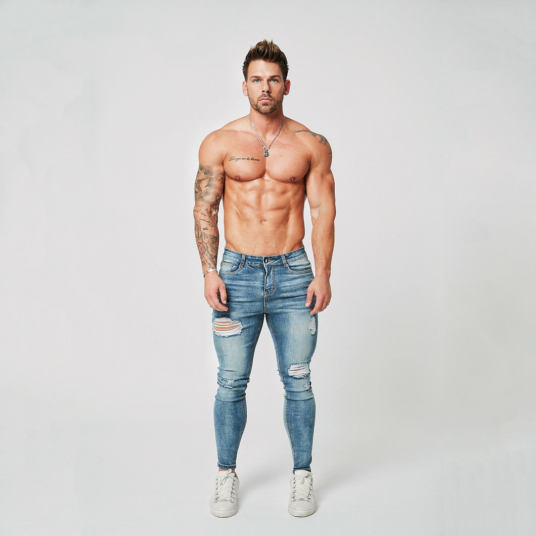 SUPER SKINNY RIPPED-REPAIRED JEANS - PALE BLUE