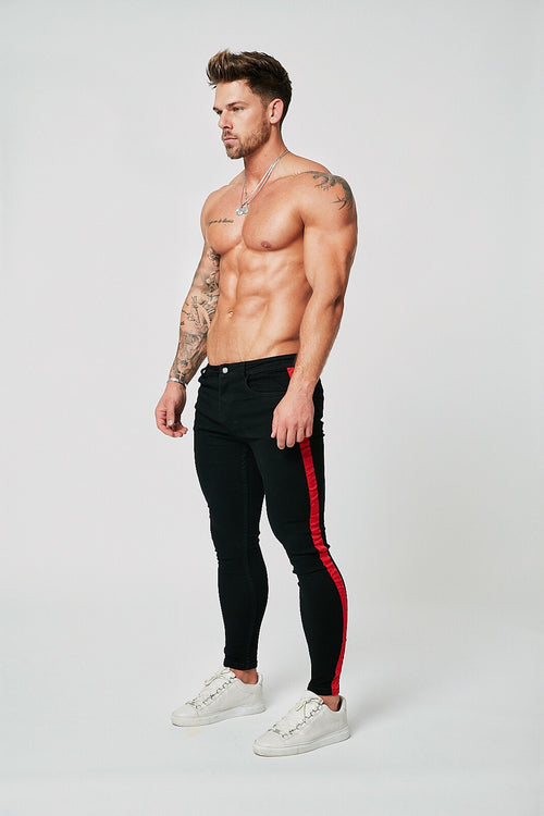SKINNY FIT NON-RIPPED JEANS - BLACK/RED STRIPE