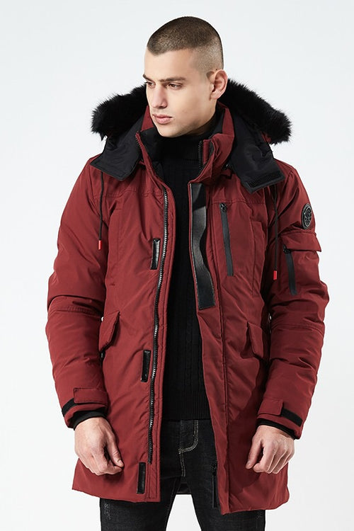 CLASSIC PACKA WITH BLACK FUR TRIM HOOD  - MAROON
