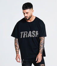 OVERSIZED SWAROVSKI TRASH T-SHIRT - BLACK