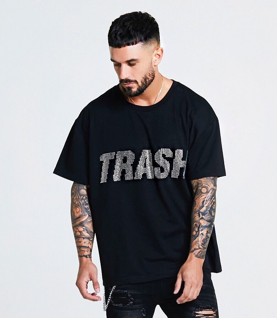 OVERSIZED SWAROVSKI STONE EMBELLISHED TRASH T-SHIRT - BLACK