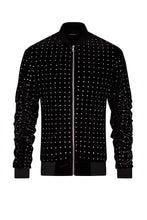 STONE EMBELLISHED VELOUR BOMBER JACKET - BLACK