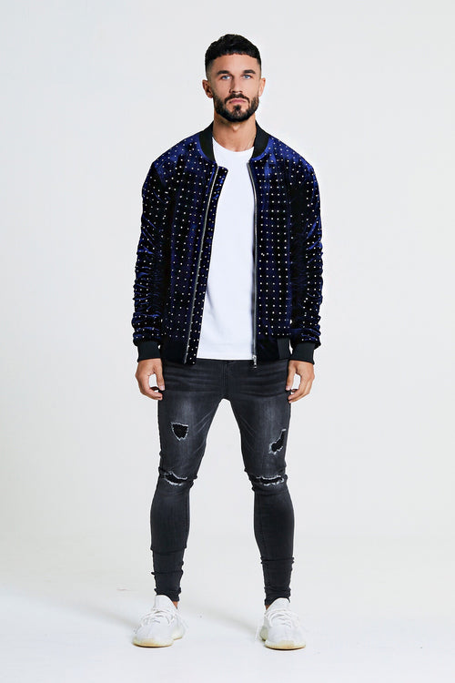 EMBELLISHED STUDDED BOMBER JACKET - NAVY
