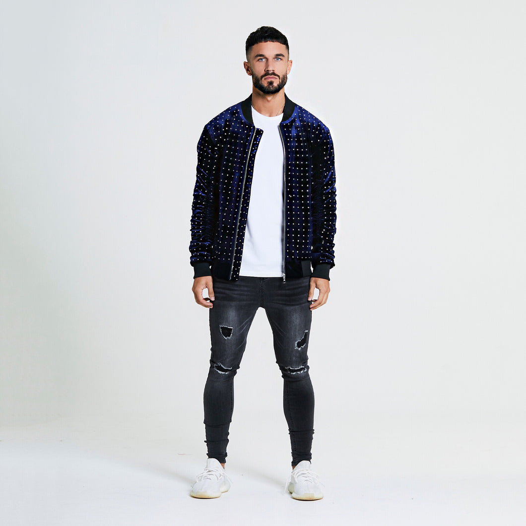 STONE EMBELLISHED VELOUR BOMBER JACKET - NAVY