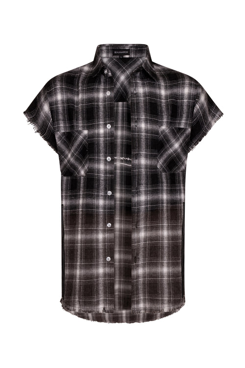 OVERSIZED PLAID SLEEVELESS SHIRT - BLACK/WHITE